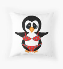 Beach Penguin in Floral Swimsuit Throw Pillow