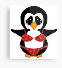 Beach Penguin in Floral Swimsuit Metal Print