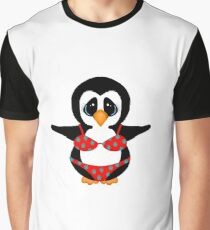 Beach Penguin in Floral Swimsuit Graphic T-Shirt