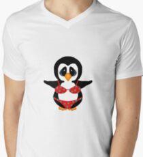 Beach Penguin in Floral Swimsuit Men's V-Neck T-Shirt