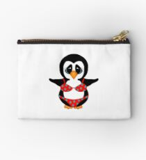 Beach Penguin in Floral Swimsuit Studio Pouch