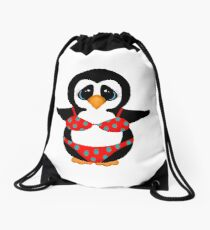 Beach Penguin in Floral Swimsuit Drawstring Bag