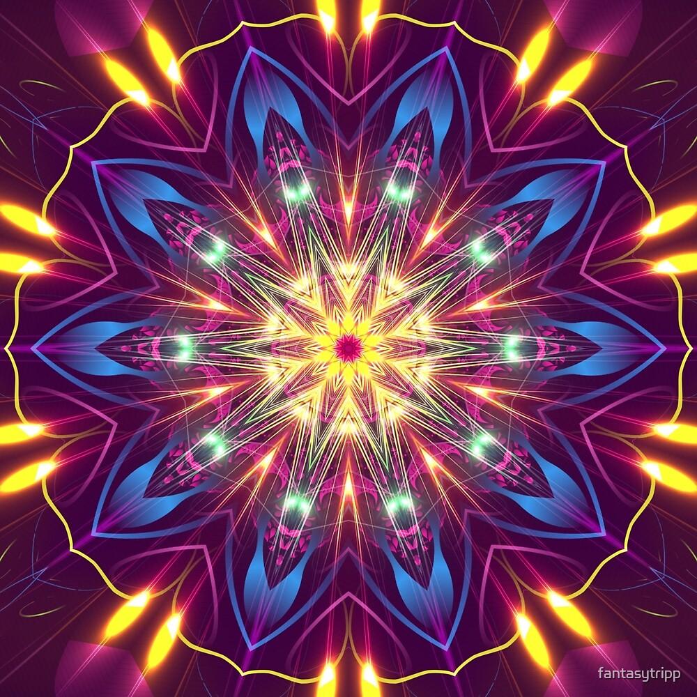 Purple Digital Light Kaleidoscope  by fantasytripp