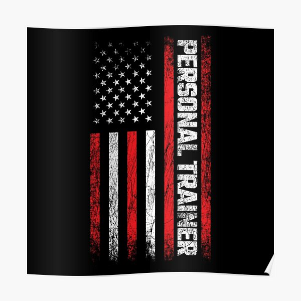 Health & Fitness Coach - American Flag - Personal Trainer Poster
