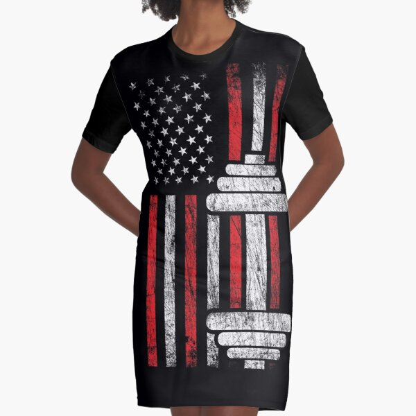 Health & Fitness Gift - American Flag - Workout Motivation Graphic T-Shirt Dress