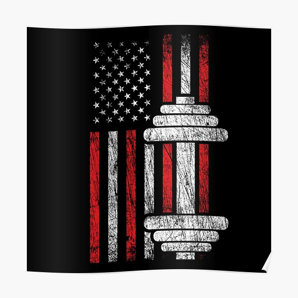 Health & Fitness Gift - American Flag - Workout Motivation Poster