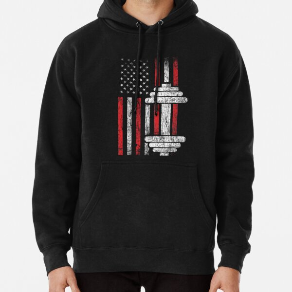 Health & Fitness Gift - American Flag - Workout Motivation Pullover Hoodie