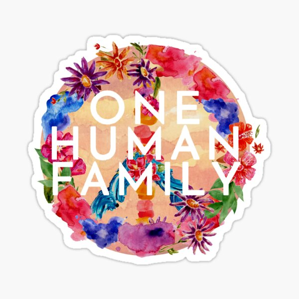 Peace Sign Floral One Human Family - Key West and the Florida Keys Motto  Sticker