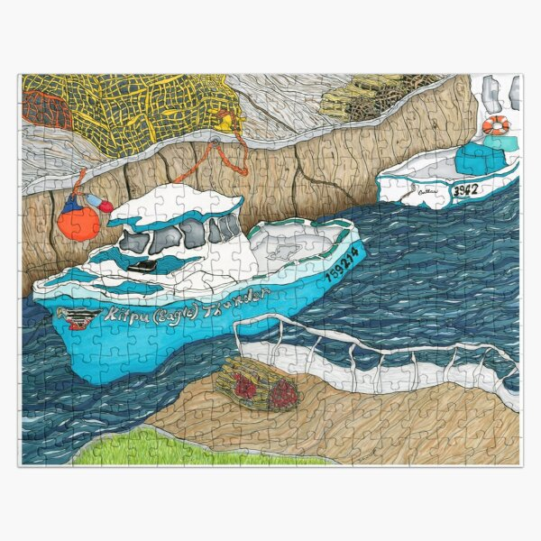 """""""Pugwash Boats""""~Painting by Dawn Langstroth ©2020 Jigsaw Puzzle"""