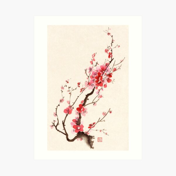 Sumi-e ink painting of blooming beautiful plum blossom or sakura branch with red flowers art print Art Print