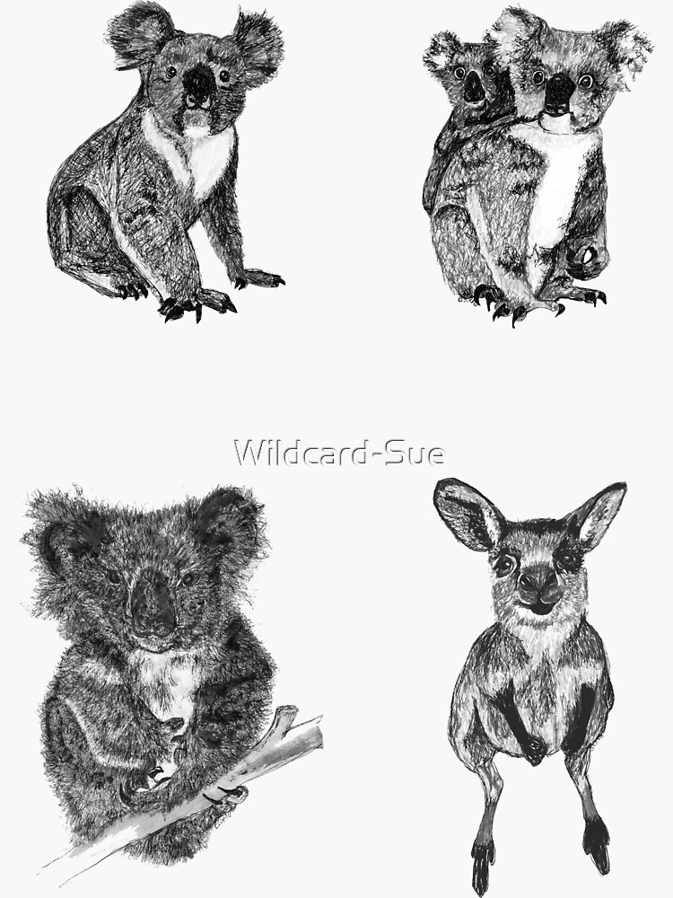 Land stickers 7- Koalas and a joey x 4 stickers by Wildcard-Sue