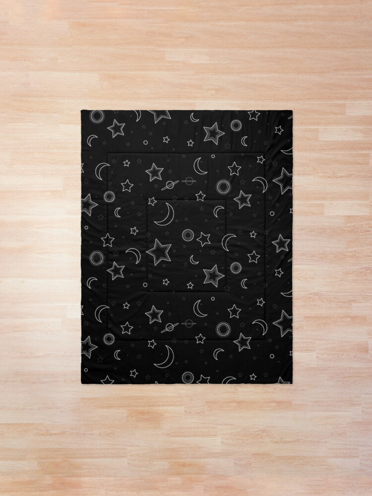 Alternate view of Moon and Stars Galaxy Comforter