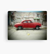 Red Car in Cojimar Canvas Print