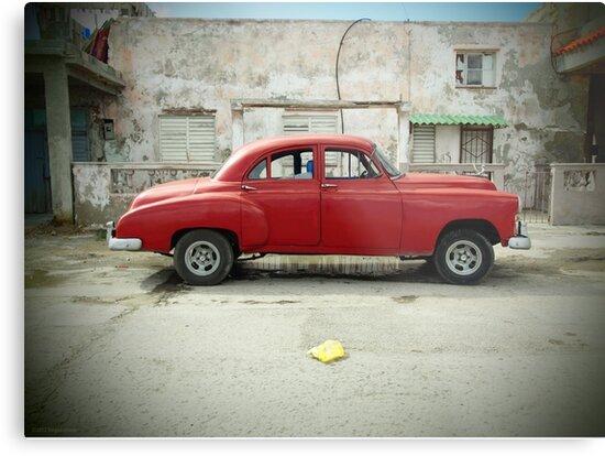Red Car in Cojimar by ponycargirl