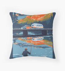 Retro Airstream travel poster Throw Pillow