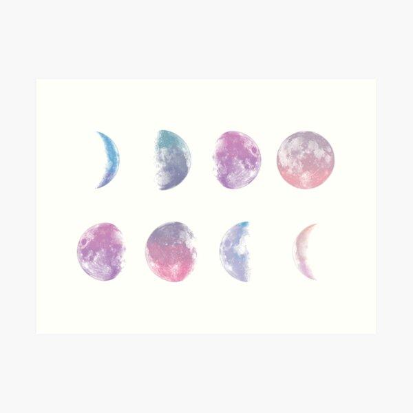 Moon phases watercolor Art Print