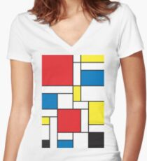 Geometric Grids and Boxes in Bold Colors (Mondrian Style) Women's Fitted V-Neck T-Shirt