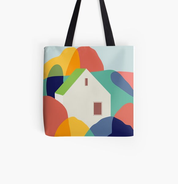Canvas tote bag with black handles printed from my image /'The Rowan Tree/'