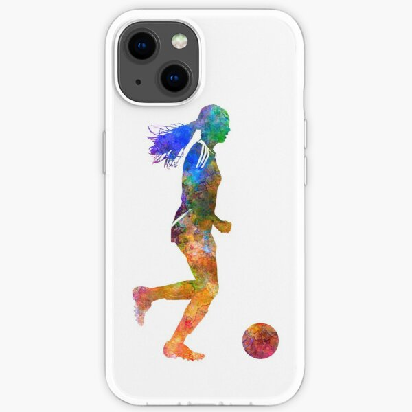 Girl playing soccer football player silhouette iPhone Soft Case