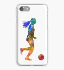 Girl playing soccer football player silhouette iPhone Case/Skin