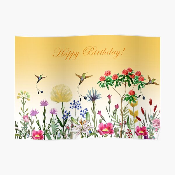 Happy Birthday With Flowers And Hummingbirds 2 Poster