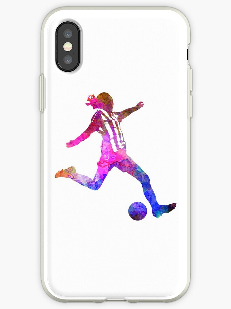 100% authentic fa139 1edf3 'Girl playing soccer football player silhouette' iPhone Case by paulrommer