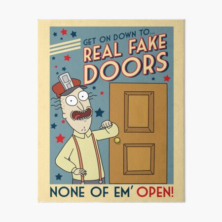Funny Rick and Morty Real Fake Doors Interdimensional Cable Advertisement  Art Board Print