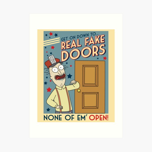 Funny Rick and Morty Real Fake Doors Interdimensional Cable Advertisement  Art Print