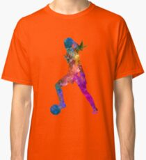 Girl playing soccer football player silhouette Classic T-Shirt