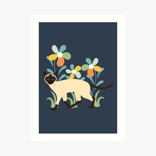 Siamese Cat and Flowers Art Print