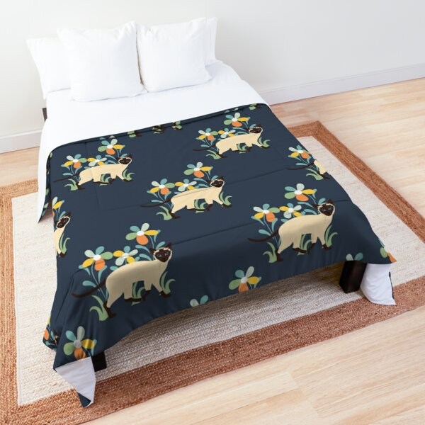Siamese Cat and Flowers Comforter