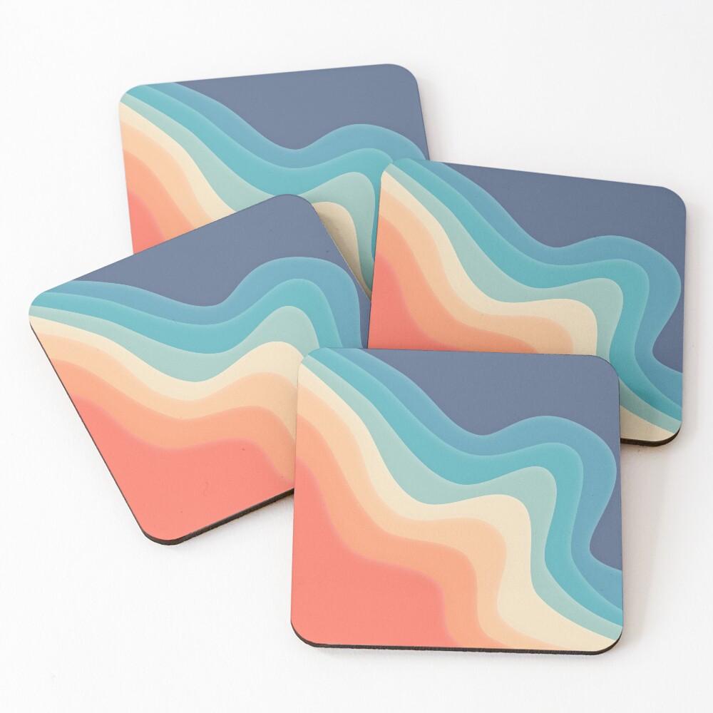 Retro color wave Coasters (Set of 4)