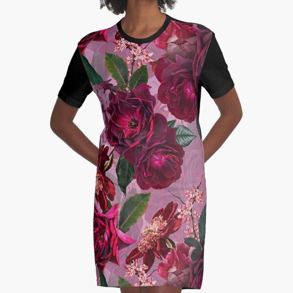 Antique Purple Botanical Flower Rose Garden Graphic T-Shirt Dress