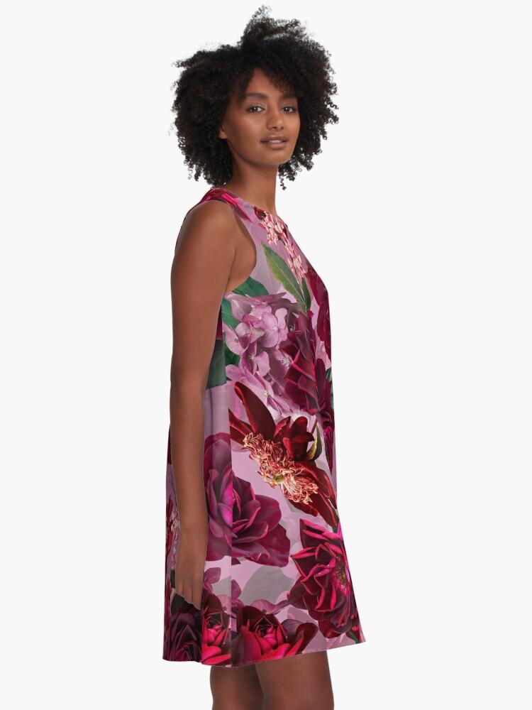 Alternate view of Antique Purple Botanical Flower Rose Garden A-Line Dress