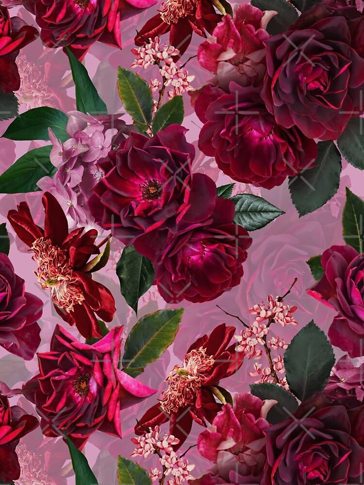 Antique Purple Botanical Flower Rose Garden by UtArt