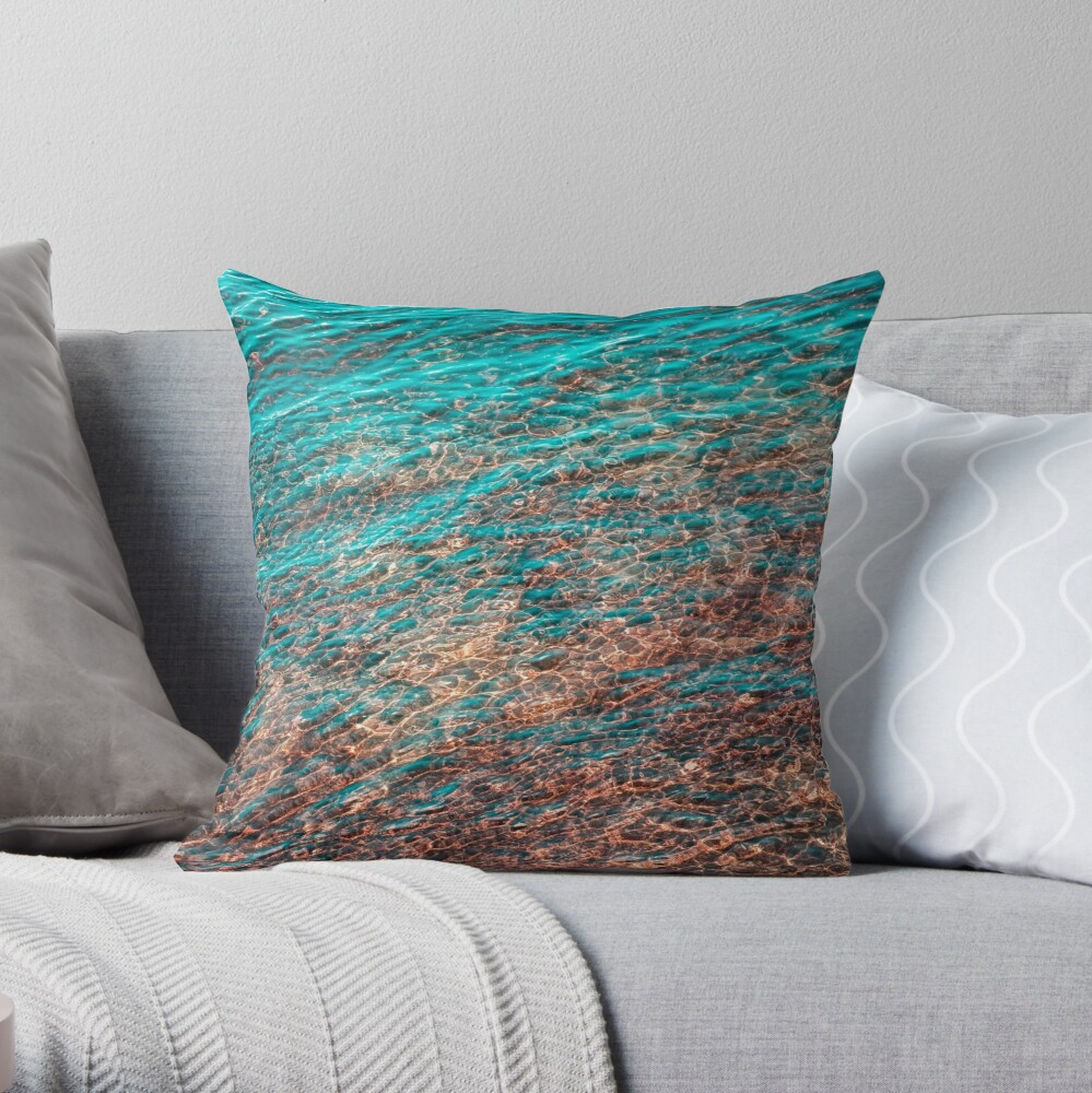 Mesmeric Layers and Patterns - Undersea in Rich Teal Turquoise Burnt Sienna and Umber Hues Throw Pillow