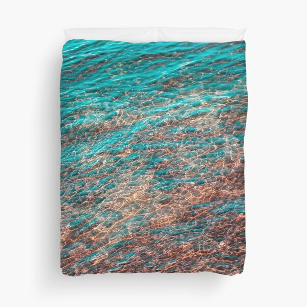 Mesmeric Layers and Patterns - Undersea in Rich Teal Turquoise Burnt Sienna and Umber Hues Duvet Cover