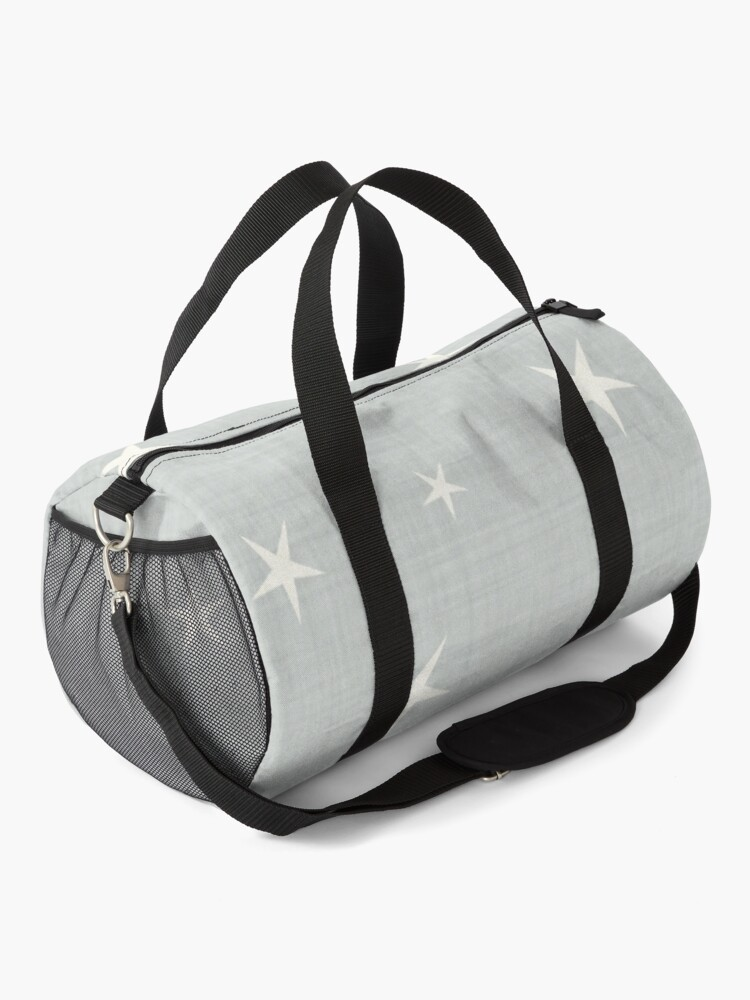 Alternate view of Grey star with fabric texture - narwhal collection Duffle Bag