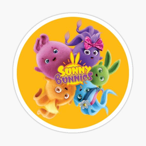 Sunny Bunnies - Bunnies and Logo (Orange Circle) Sticker