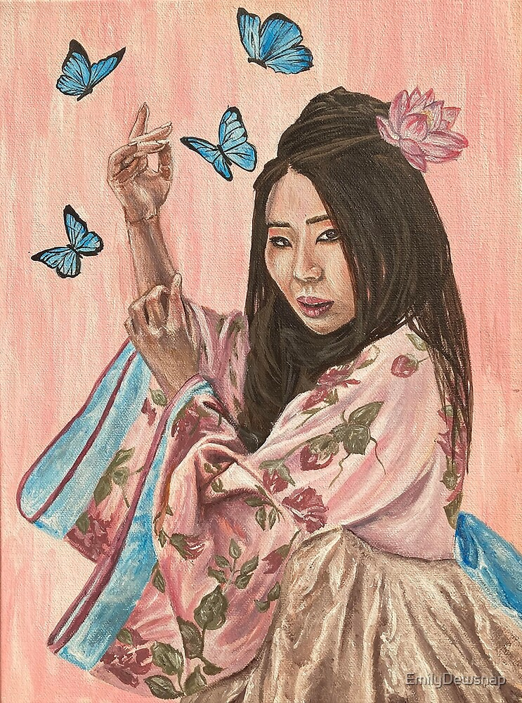 Psyche - Painting of a Japanese Girl Surrounded by Butterflies by EmilyDewsnap