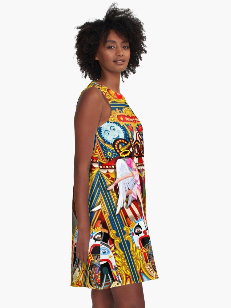 Alternate view of Carnival Circus Amusement Family Theme Park Illustration   A-Line Dress
