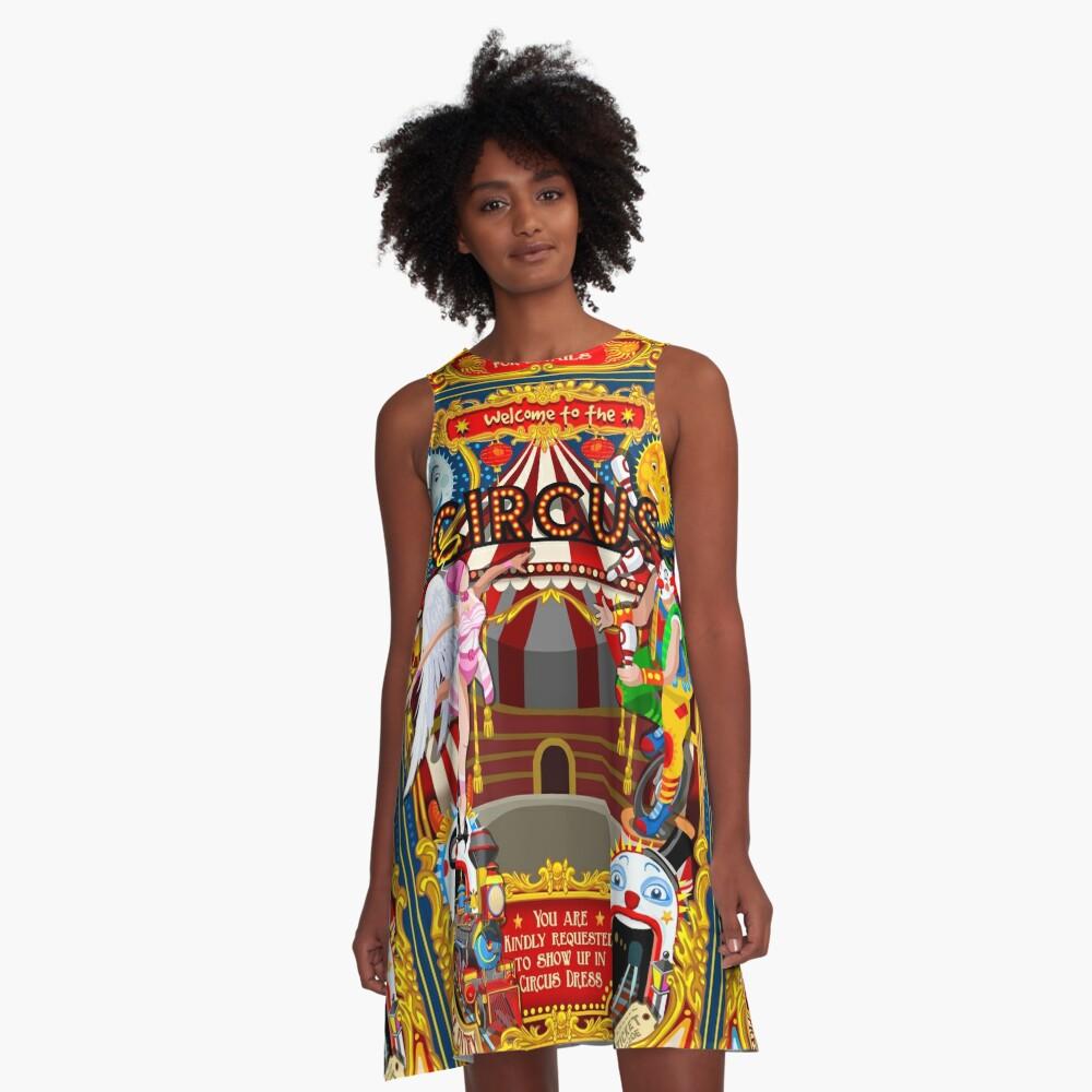Carnival Circus Amusement Family Theme Park Illustration   A-Line Dress