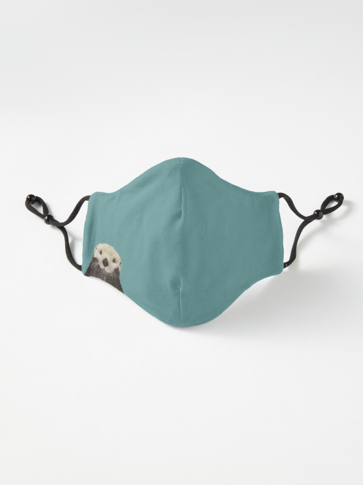 Alternate view of Cute Sea Otter on Teal Solid. Minimalist. Coastal. Adorable. Mask