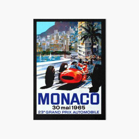 """MONACO GRAND PRIX"" Vintage Auto Racing Print Art Board Print"