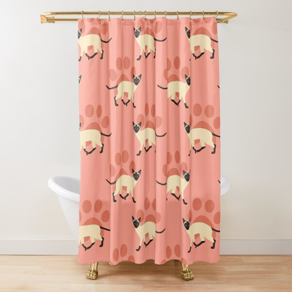 Siamese Cat and Paw Print Shower Curtain