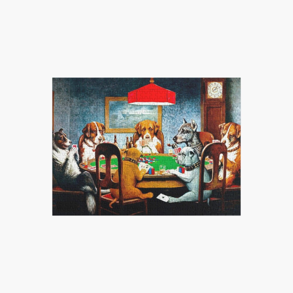 DOGS PLAYING POKER : Vintage C M Coolidge Print Jigsaw Puzzle