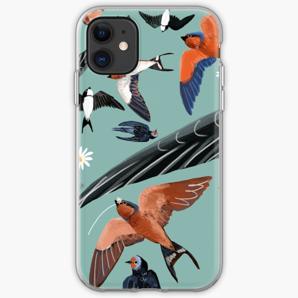 Swallows and swift pattern (Turquoise) Funda y vinilo para iPhone