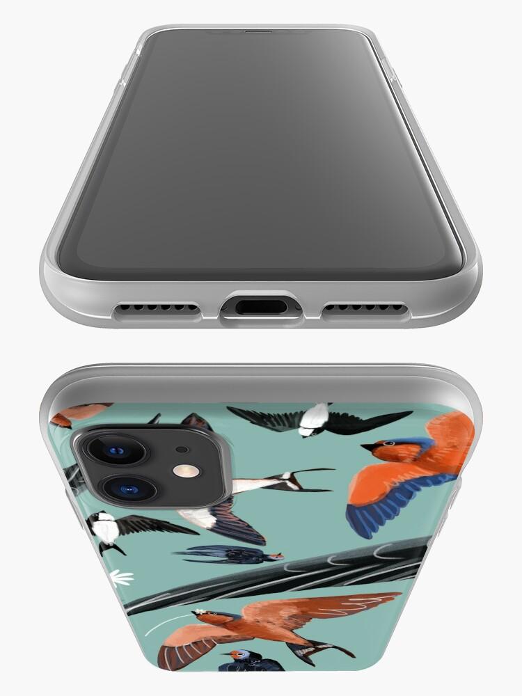 Vista alternativa de Funda y vinilo para iPhone Swallows and swift pattern (Turquoise)