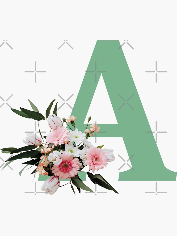 Letter A green with colorful flowers  by ColorsHappiness