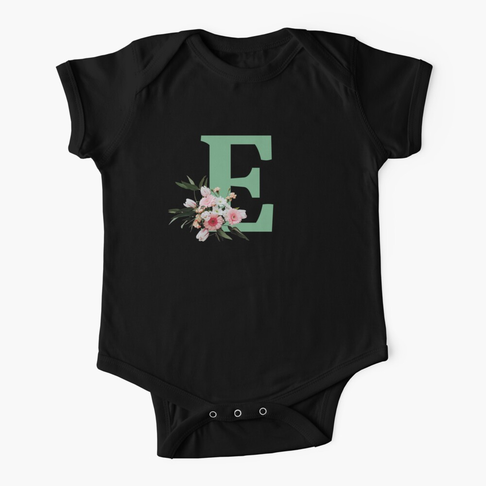 Letter E green with colorful flowers  Baby One-Piece
